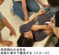 突然倒れた女性を担架に乗せて搬送する(イメージ)
