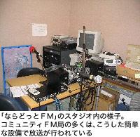 「ならどっとFM」のスタジオ内の様子。コミュニティFM局の多くは、こうした簡単な設備で放送が行われている