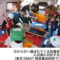次から次へ運ばれてくる負傷者に迅速に対応する(東京DMAT隊員養成研修で)