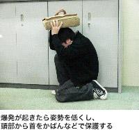 爆発が起きたら姿勢を低くし、頭部から首をかばんなどで保護する