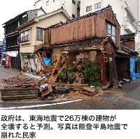 政府は、東海地震で26万棟の建物が全壊すると予測。写真は能登半島地震で崩れた民家