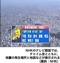 NHKのテレビ画面ではチャイム音とともに、地震の発生場所と地図などが表示される(提供:NHK)