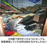 大地震で室内がこのようになっても、耐震補強していれば命は助かるかもしれない