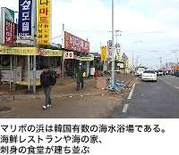 マリポの浜は韓国有数の海水浴場である。海鮮レストランや海の家、刺身の食堂が建ち並ぶ