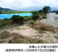 決壊した天竜川の堤防(長野県伊那市/2006年7月23日撮影)