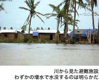 川から見た避難施設。わずかの増水で水没するのは明らかだ。