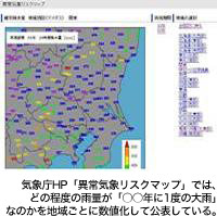 気象庁HP「異常気象リスクマップ」では、どの程度の雨量が「○○年に1度の大雨」なのかを地域ごとに数値化して公表している。