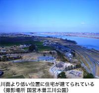 川面より低い位置に住宅が建てられている(撮影場所 国営木曽三川公園)