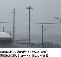 暴風によって海の塩分を含んだ雪が電線に付着しショートすることがある