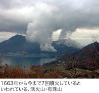 1663年から今まで7回噴火しているといわれている、活火山・有珠山。北海道にあり、洞爺湖の南に位置する。