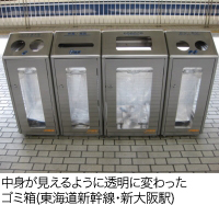 中身が見えるように透明に変わったゴミ箱(東海道新幹線・新大阪駅)