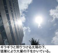 ギラギラと照りつける太陽の下、猛暑により大量の汗をかいている。
