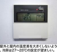 屋外と屋内の温度差を大きくしないよう、冷房は27~28℃の設定が望ましい。
