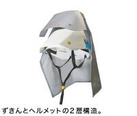 ずきんとヘルメットの2層構造。