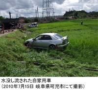 水没し流された自家用車(2010年7月15日 岐阜県可児市にて撮影)
