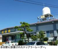 余目駅に設置されたドップラーレーダー。