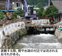 避難する際、橋や水路の付近では流されるおそれがある。