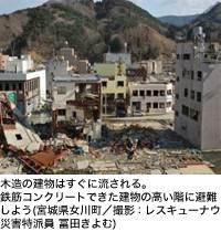 木造の建物はすぐに流される。鉄筋コンクリートできた建物の高い階に避難しよう(宮城県女川町/撮影:レスキューナウ災害特派員 冨田きよむ)