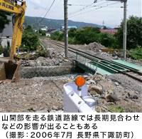 山間部を走る鉄道路線では長期見合わせなどの影響が出ることもある(撮影:2006年7月 長野県下諏訪町)