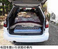 布団を敷いた状態の車内